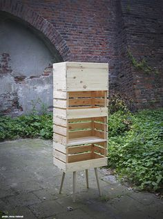 stool legs + old crate boxes = shelf