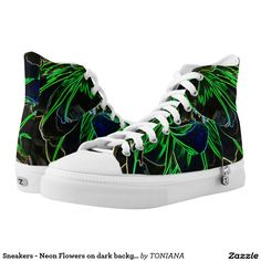 Sneakers - Neon Flowers on dark background Neon Flowers, Printed Shoes, Dark Backgrounds, Converse Chuck Taylor, High Tops, Athletic Shoes, High Top Sneakers, Comfy, Pairs