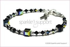Awareness Bracelet - Melanoma Skin Cancer - Swarovski Cube Crystal Jet Black