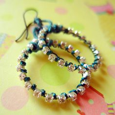 "Tutorial - ""wire-lashing"" really wrapping rhinestone-chain-earrings...many tutorials here"