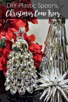 These plastic spoon Christmas Cone Trees are made with small silver plastic spoons from the Dollar Store!