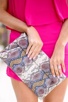 Emilia Snake Print Clutch -... Animal Print Outfits, Online Clothing Boutiques, Ladies Boutique, Snake Print, Fashion Accessories, Fashion Outfits, Purses, Candy Boutique, Wallets