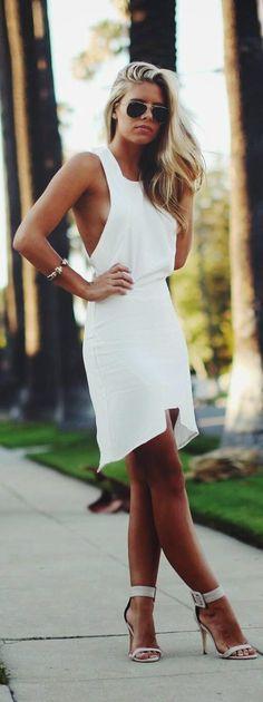 Spring street fashion | Sexy white dress