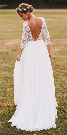 bohemian wedding dress straight lace open back with sleeves eleonore.pauc