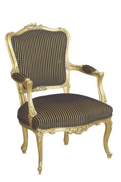 Louis XV Florentine Salon Armchair Painted Upholstered with Stripe Fabric - Salon Chairs - Christophe Living