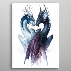 Dragons of Yin and Yang - Signed Fine Art Print - Wall Decor - Fantasy Artwork P. - Dragons of Yin and Yang – Signed Fine Art Print – Wall Decor – Fantasy Artwork Poster – Pai - Fantasy Artwork, Fantasy Creatures, Mythical Creatures, Mythological Creatures, Dragon Cross Stitch, Dragon Sketch, Beautiful Dragon, Dragon Artwork, Dragon Tattoo Designs