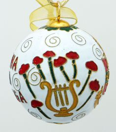 Officially licensed Alpha Chi Omega, handcrafted, 24k gold plated cloisonne ornament - www.KittyKeller.com