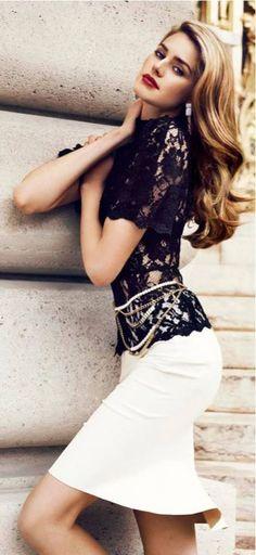 Black Lace & Peplum Skirt