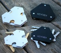 """Constructed from sandblasted and anodized aluminum, weighing only 1.2 oz, hold up to 6 keys, and can hold car alarms/carabiners. The KeyDisk is designed to provide optimal durability and a minimal frame. KeyDisk comes with 6 washers for optimal fitting. The plates are 1/16"""" in thickness and approximately 2 1/2"""" in height. This sleek frame will fit into your pocket much more easily than any other key holding device - $27"""