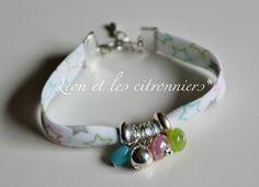 Bracelet  miami  : biais blanc étoilé multicolore  avec perles assorties Léon et les citronniers*