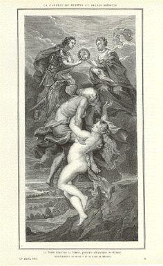 """""""La Galerie de Ruzbens au Palis Medicis"""" """"Le Temps Decouvre la Verite, peinture allegorique de Rubens"""" ( Reconciliation de HenriIV et de Marie de Medicis)  Wood engraving dated 1884."""