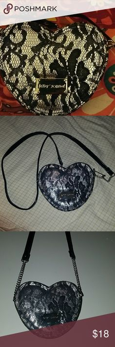 Betsy Johnson ? Heart  Shaped Cross Body Bag ?? black and silver laced heart shaped bag,  Excellent condition ! Betsey Johnson Bags Crossbody Bags