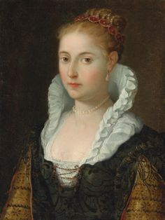 EMILIAN SCHOOL, CIRCA 1600 PORTRAIT OF A LADY, HEAD AND SHOULDERS, WEARING A NECKLACE AND PEARLS IN HER HAIR