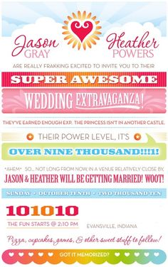 """""""Sweet Geek"""" wedding invitations.  I heart the wording.  Looking for a creative way to word our invites."""