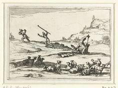 Jacques Callot | Herders verdedigen hun kudde, Jacques Callot, 1621 - 1635 | Voorstelling van twee herders die hun kudde schapen met hand en tand verdedigen: de een doodt een wolf, de ander achtervolgt een dief. Dit blad is onderdeel van de embleemserie 'Kloosterleven in emblemen'. De tweede staat van deze serie behelst naast een geïllustreerde titelpagina en 26 emblemen nog een titelpagina en een blad met opdracht, beide in boekdruk zonder afbeelding.