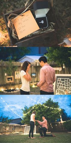 Every detail of this backyard proposal is so sweet and sentimental! He used photos from their relationship and a Dr. Seuss book to ask her to marry him. <3
