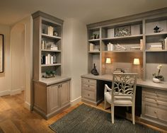 Traditional Home Office Design, Pictures, Remodel, Decor and Ideas -   this is what the corner will look like where bar meets bookshelves