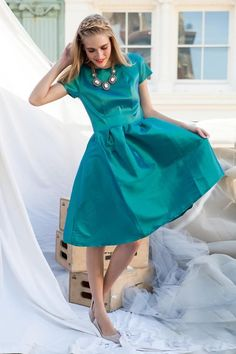 Shop for sophisticated vibrant green fit and flare bridesmaid dress online at Shabby Apple! Find vintage & retro inspired modest clothing & cute accessories for women in a variety of sizes, fabrics, shapes & styles at www.shabbyapple.com.