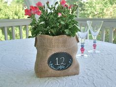 Burlap and Chalk Cloth Gift Bag ... Party Favor ... Table Number ... Centerpiece to personalize over and over again. $6.00, via Etsy.