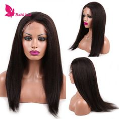 Glueless Kinky hetero Full Lace Wig brasileiro do cabelo humano Kinky em linha reta peruca Remy Kinky em linha reta peruca dianteira do laço para as mulheres negras