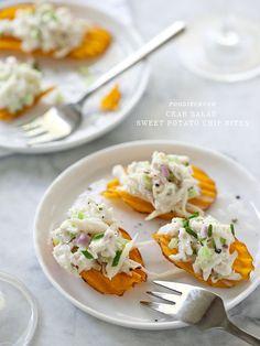 Crab Salad Sweet Potato Chip Bites are a super easy appetizer #recipe