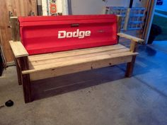 Red Dodge Tailgate bench by TailgateGuy on Etsy, $300.00