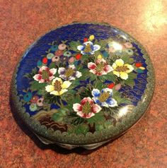 Antique  Chinese Cloisonne  Compact Rare -Silver? Flowers Enamel Fabulous Old