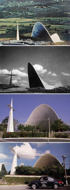 Felix Candela, Open Chapel in Palmira (1958). Top to bottom: Aerial photo by unknown photographer (1958); black and white image possibly by Nacho Lopez in 1959; one made in 1994 by Yoshito Isono / structurae.net; and the one taken by Bruce M. White (2008)