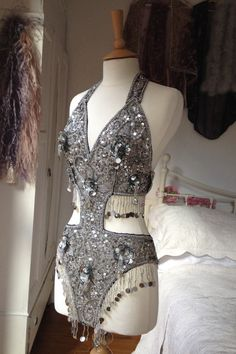 Embellished Silver Sequin Showgirl Body by Talulahblueburlesque