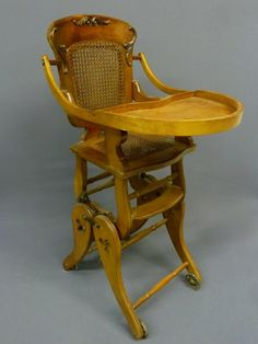 Antique Oak Child S Highchair Rocker Circa 1900