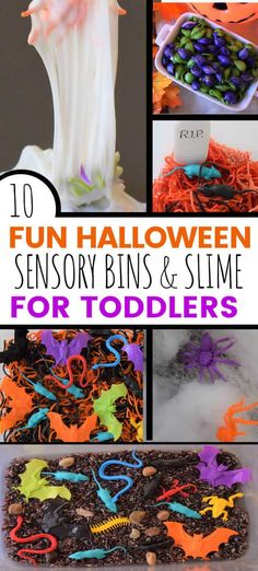 We are sharing 10 fun Halloween Sensory Activities For Toddlers, Start a new toddler Halloween tradition with your family! We included toddler Halloween art ideas, Halloween books for toddlers, Halloween slime recipes, Halloween sensory bins, Halloween colored rice recipe, fall toddler activities, fall playdough recipes, Halloween toddler lunch ideas, Make spaghetti worms for Halloween sensory play with your toddler! #halloween #toddlerhalloween #toddleractivities Sensory Activities Toddlers, Sensory Bins, Sensory Play, Halloween Books, Halloween 2020, Easy Halloween, Red Slime, Colored Rice, Halloween Traditions