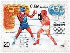 Znaczek: Gold and silver, boxing (Kuba) (Summer Olympics Barcelona) Mi:CU 3617 1992 Olympics, Summer Olympics, Boxing, Cuba, Barcelona, Stamps, Baseball Cards, Sports, Silver