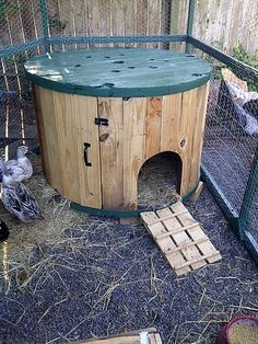 pallet cable spool recycled duck coop