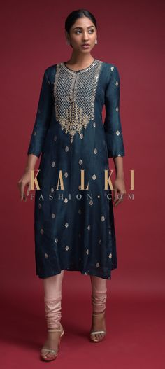 Buy Online from the link below. We ship worldwide (Free Shipping over US$100)  Click Anywhere to Tag Space Blue Kurti In Cotton Silk With Weaved Buttis And Gotta Patch Work Online - Kalki Fashion Space blue kurti in cotton silk with weaved buttis.Adorned with zari and gotta patch embroidered yoke.
