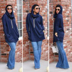 #DIY Hooded Tunic + Flared Jeans - #MimiGStyle #Sewingissexy