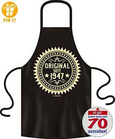 6170 Schürze BLACK: ORIGINAL 1947, Alle Farben hier wählbar Geschenke Set zum 70. Geburtstag, fürs Alter 70 Jahre +Button SO GUT MIT 70 AUSSEHEN - T-Shirts mit Spruch | Lustige und coole T-Shirts | Funny T-Shirts (*Partner-Link)