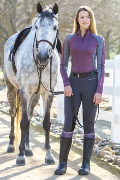 Noble Outfitters Lauren 1/4 Zip Mock - Athletic inspired and performance driven, the Lauren Quarter Zip Mock is extremely versatile. Wear it alone or layer it. Zip up or Zip down. It is ideal for everything from equestrian riding, to running, to grabbing coffee with friends.