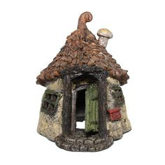 "Get Away House Fairy Garden Miniatures  $32.99 This gnome getaway is sure to add a touch of whimsy to your miniature fairy garden! Chock full of delightful features including a hinged door, mushroom chimney and tiny ""Gnome Mail"" box. The windows and bottom of the house have openings so an added LED tea light timer can be placed for night time lighting!  Hand-coated All-weather paint Measure 6.5"" x 4.75"" x 5"""
