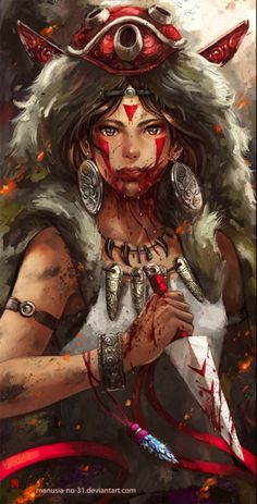 This is one of the most beautiful fan art depictions of Princess Mononoke I have ever seen. Bravo~