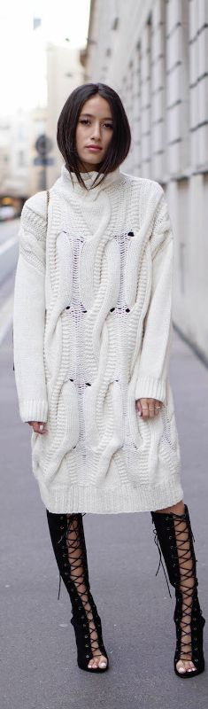 White knit sweater dress + black lace up heels women fashion outfit clothing stylish apparel @roressclothes closet ideas