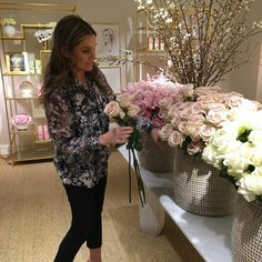 Baskets of flowers for our Rose Cologne Event. #AERINbeauty