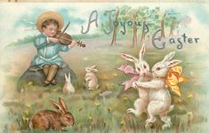 Old Easter Post Card — A Joyous Easter, 1913  (1648x1053)