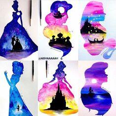 Gorgeous double-exposure disney princess watercolor