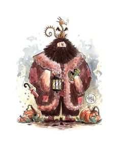 "Here's a watercolor of Hagrid I painted to go along with my ""Harry Potter Characters With Their Animals On Top Of Their Heads"" series. Hagrid and Norbert Fanart Harry Potter, Harry Potter World, Harry Potter Friends, Harry Potter Wallpaper, Harry Potter Fan Art, Harry Potter Universal, Harry Potter Fandom, Harry Potter Characters, Harry Potter Halloween"