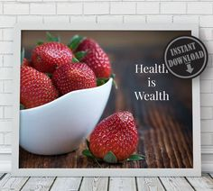 Health Is Wealth Wall Art Decor Quote Positive Inspirational Instant Download Printable by WayWithWordsPrints on Etsy