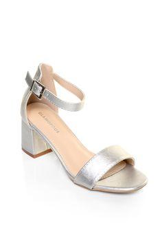 439530fc3f6 Womens Glamorous Low Heel Metallic Sandals - Silver