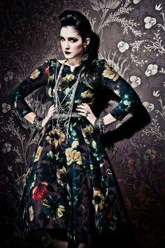 Lena Hoschek - Lena Dress in Velvet Roses Runway Fashion, Fashion Models, Womens Fashion, Russian Fashion, Beautiful Long Hair, Rose Dress, Shades Of Green, Boho Chic, Long Hair Styles