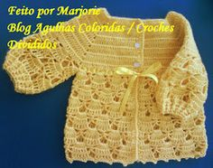 Agulhas Coloridas Croche e Trico: PAP Casaquinho de Croche de BEBE - Feito por Lindinha Crochet Fabric, Crochet Bebe, Crochet Girls, Crochet For Kids, Crochet Crafts, Easy Crochet, Knit Crochet, Knitting For Kids, Baby Knitting Patterns