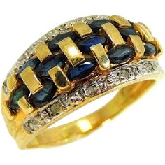 Estate found contemporary vintage Sapphire and Diamond ring in a gorgeous gold setting. This ring is in beautiful condition and the 14k Gold Ring, Gold Rings, Sapphire Diamond, Artisan Jewelry, Gemstone Jewelry, Vintage Jewelry, Fine Jewelry, Wedding Rings, Cyber