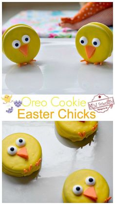 Simple Cookie Easter Chick Treats That Are Almost Too Cute To Eat! These Easter Chick Treats are perfect for your Easter Celebration. Learn how to make these simple Oreo Cookie Easter Chicks. So easy to make and Perfect for spring or Easter with the kids. Easter Snacks, Easter Appetizers, Easter Treats, Easter Recipes, Easter Food, Dessert Recipes, Easy Easter Deserts, Easter Candy, Cupcake Recipes